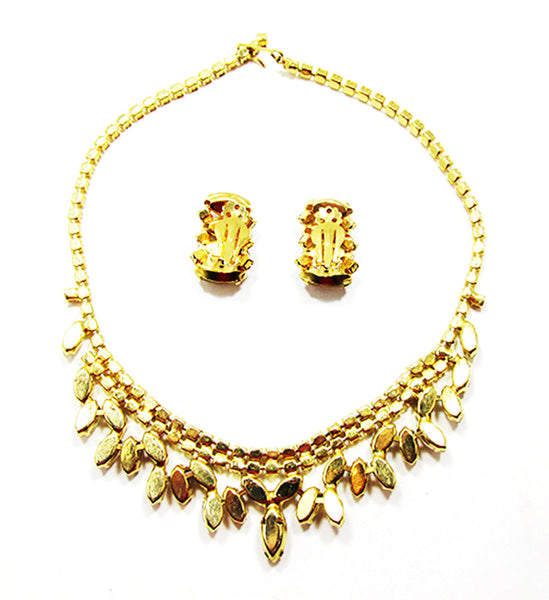 Vintage 1950s Jewelry Eye-Catching Diamante Necklace and Earrings Set - Back