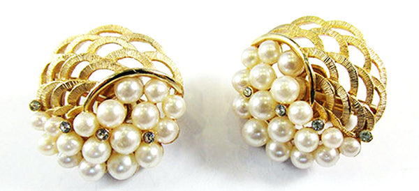 Crown Trifari Vintage Gorgeous 1950s Pearl Pin and Earrings Set