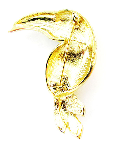 Vintage 1960s Jewelry Adorable Diamante and Enamel Figural Toucan Pin - Back