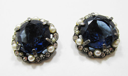 Art Vintage Mid Century 1950s Bold Sapphire Button Earrings