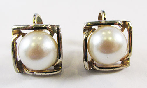 Giovanni Vintage 1950s Dainty Geometric Pearl Earrings