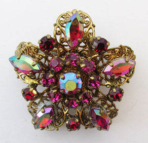 West Germany Vintage 1950s Awesome Ruby and Fuschia Filigree Pin