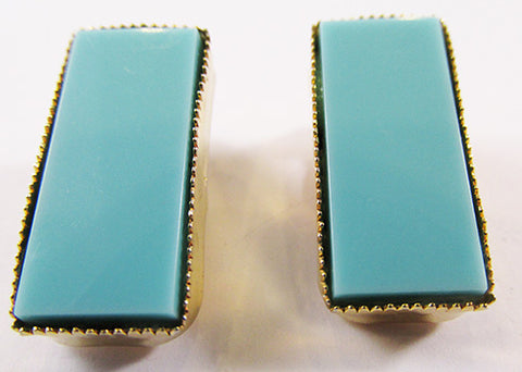 Striking Vintage 1960s Retro Geometric Minimalist Turquoise Earrings
