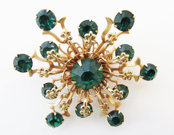 Vintage 1950s Charming Mid-Century Emerald Sparkling Snowflake Pin