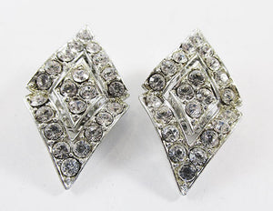 Sarah Coventry Vintage 1960s Elegant Geometric Rhinestone Earrings