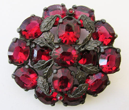 Vintage 1920s Extraordinary Art Nouveau Ruby Floral Pin