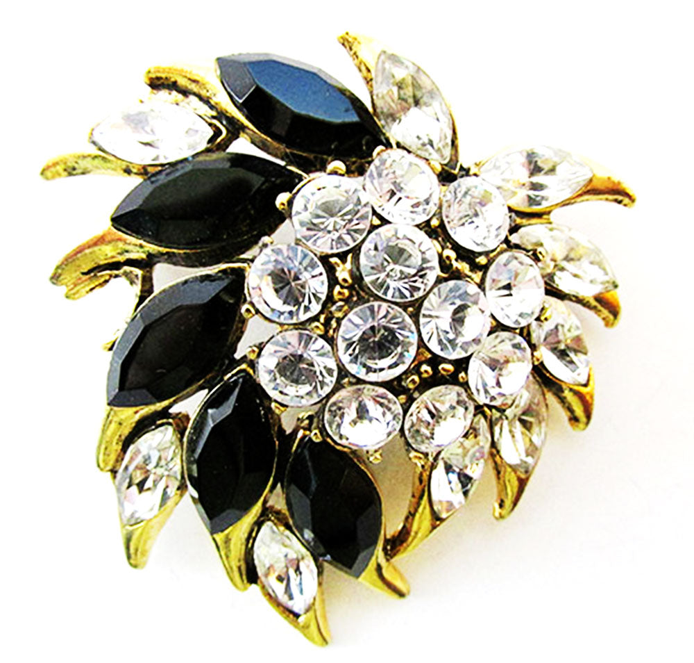 Vintage 1960s Bold Retro Clear and Onyx Floral Pin