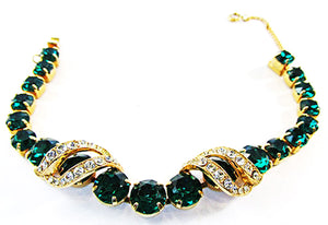 Eisenberg 1940s Vintage Jewelry Emerald Diamante Glamour Bracelet - Front