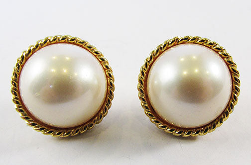 Vintage 1970s Elegant Retro Ivory Pearl Cabochon Button Earrings