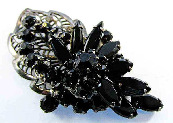 Vintage Gorgeous Mid-Century Black Rhinestone Floral Pin and Earrings