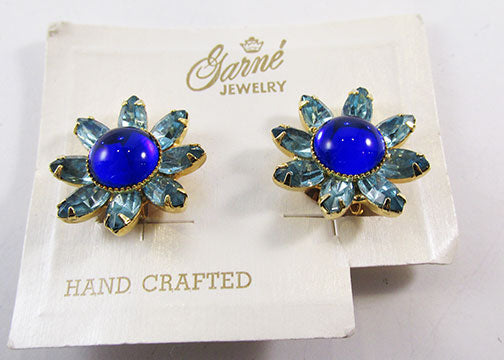 Garne Rare Vintage 1950s Flawless Mid-Century Floral Button Earrings