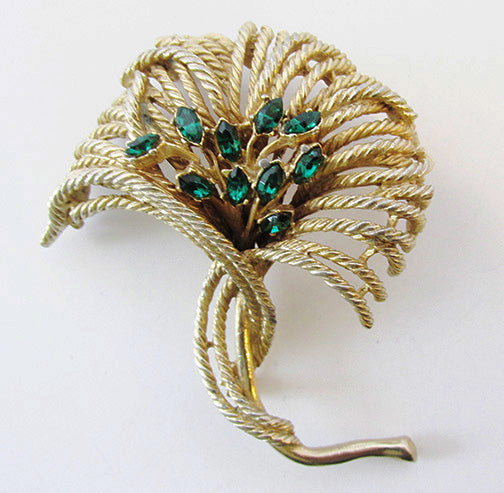 Art Vintage Mid Century 1950s Striking Emerald Floral Spray Pin