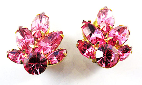 Vintage Mid Century Eye Catching Floral Rhinestone Pin and Earrings