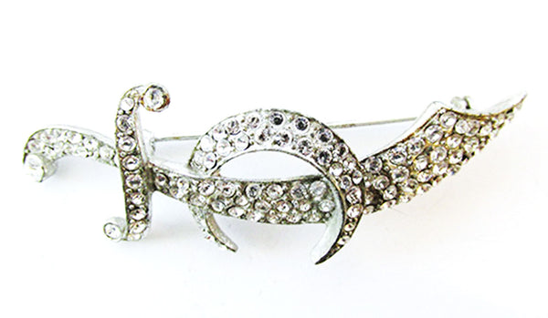 1930s Vintage Jewelry Bold Clear Diamante Figural Scimitar Sword Pin - Front