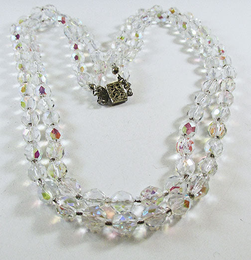 Vintage 1950s Elegant Mid-Century Double Strand Crystal Necklace