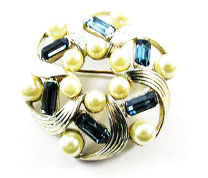 Lisner Vintage Eye-Catching Mid-Century Rhinestone and Pearl Swirl Pin