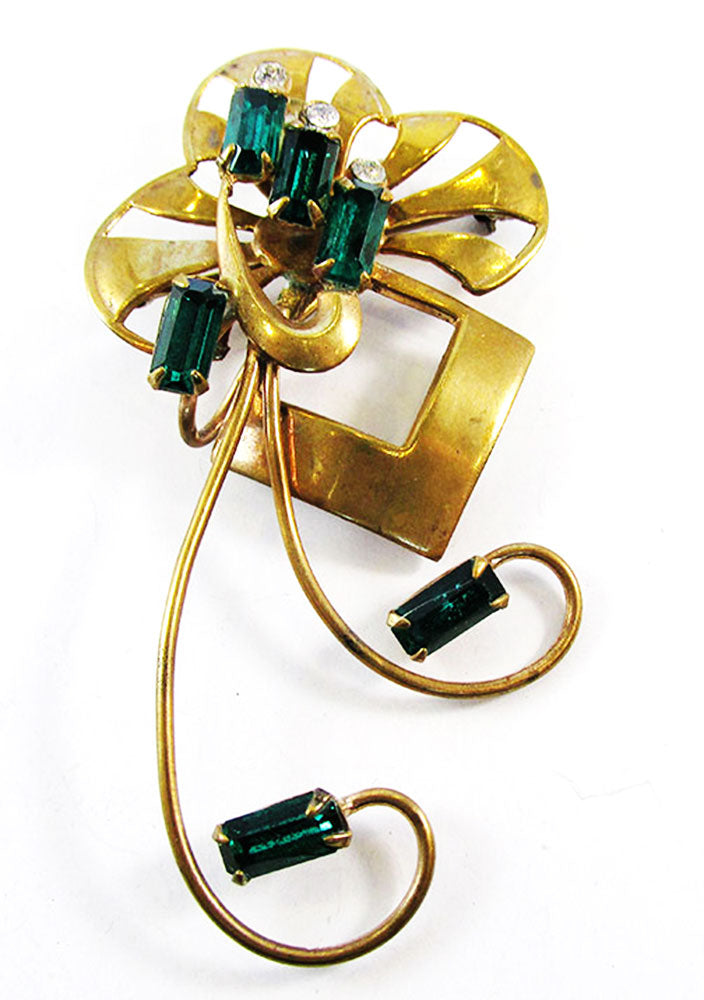 Vintage 1940s Striking and Versatile Retro Emerald Pin/Pendant