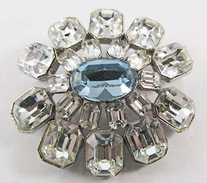 Coro Vintage 1940s Outstanding Clear and Sapphire Rhinestone Pin