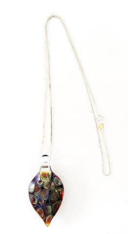 1970 Vintage Jewelry Artisan Hand-Blown Art Glass and Sterling Pendant - Front