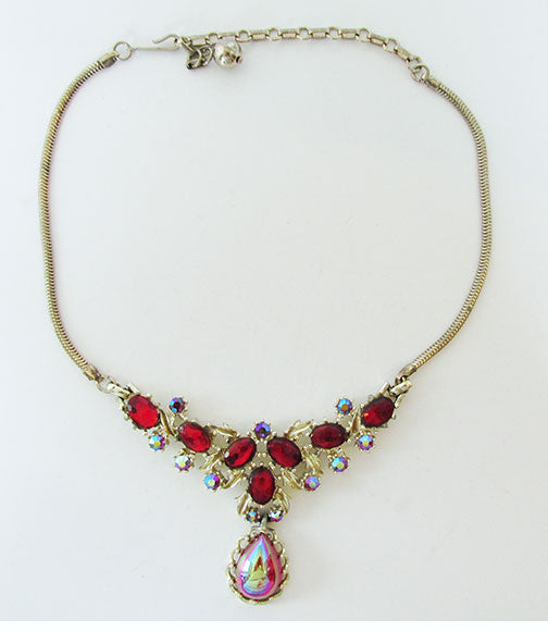 Vintage Mid Century 1950s Flawless Ruby Red Bib Necklace