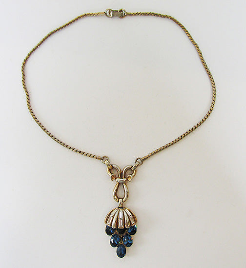 Crown Trifari Vintage Mid Century Striking Sapphire Drop Necklace
