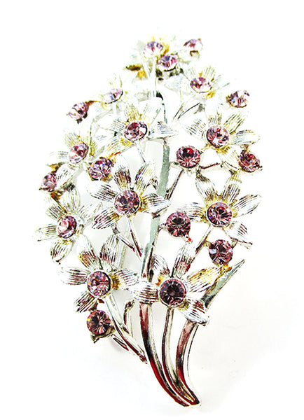 Coro 1950s Vintage Jewelry Pretty Purple Diamante Floral Bouquet Pin - Front