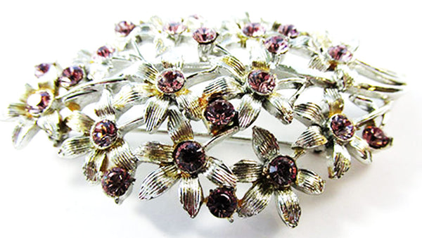 Coro Vintage 1950s Desirable Mid-Century Purple Floral Bouquet Pin
