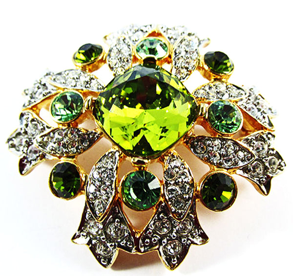 Kenneth J. Lane Vintage 1960s Dramatic Retro Rhinestone Floral Pin