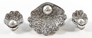 1960s Vintage Jewelry Diamante and Pearl Seashell Pin and Earrings Set