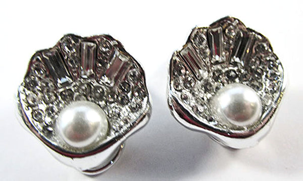 1960s Vintage Jewelry Diamante and Pearl Seashell Pin and Earrings Set - Earrings
