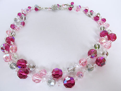 Vendome Vintage 1950 Fabulous Fuchsia, Pink, and Grey Crystal Necklace