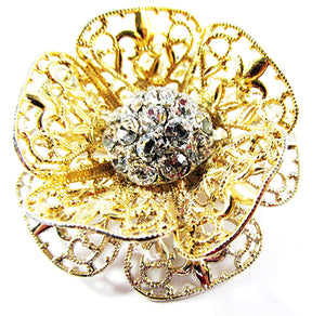 Vintage 1950 Jewelry Outstanding Three Dimensional Diamante Floral Pin - Front