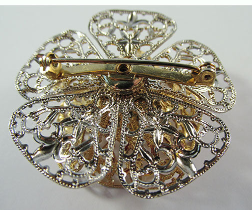 Vintage 1950 Jewelry Outstanding Three Dimensional Diamante Floral Pin - Back