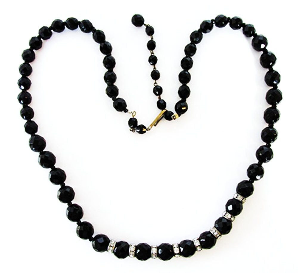 West German Vintage 1950s Mid-Century Dramatic Black Bead Necklace