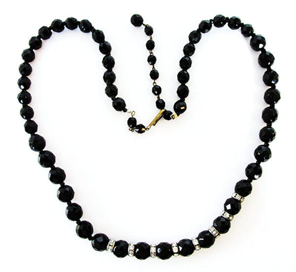 West Germany 1950s Vintage Jewelry Dramatic Black Bead Necklace - Front