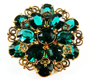 Vintage 1950s Jewelry Superb Emerald Green Diamante Floral Pin - Front