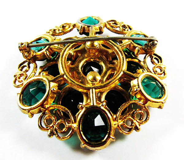 Vintage 1950s Jewelry Superb Emerald Green Diamante Floral Pin - Back