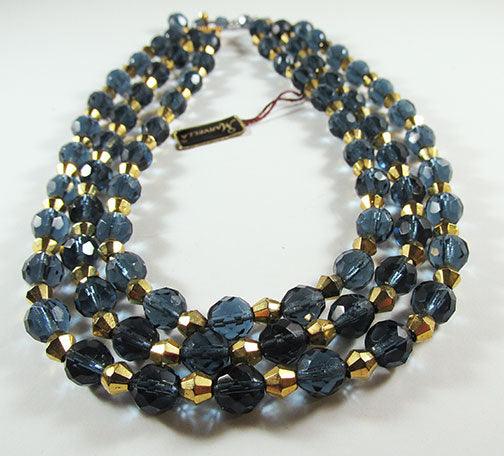 Marvella Vintage 1950s Striking Three Strand Crystal Necklace