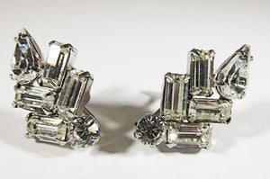Weiss Vintage 1940s Flawless Retro Geometric Rhinestone Earrings