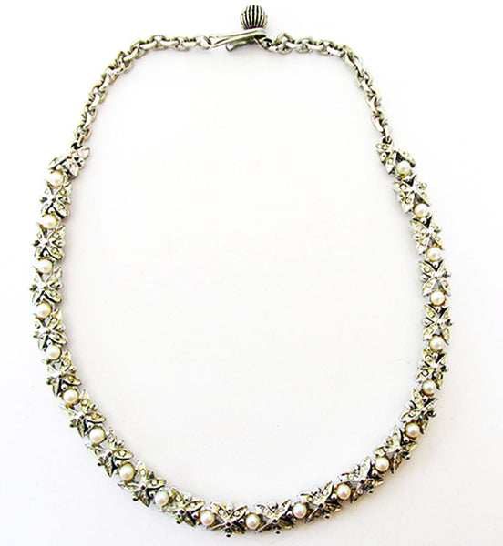 BSK 1950s Vintage Jewelry Mid-Century Pearl and Diamante Necklace - Front