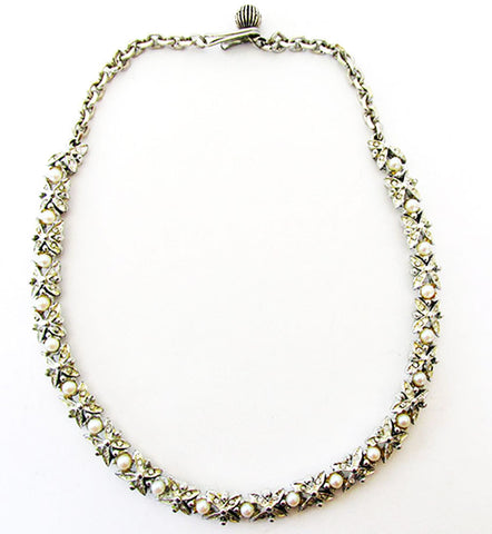BSK Distinctive Vintage Mid-Century Pearl and Rhinestone Link Necklace