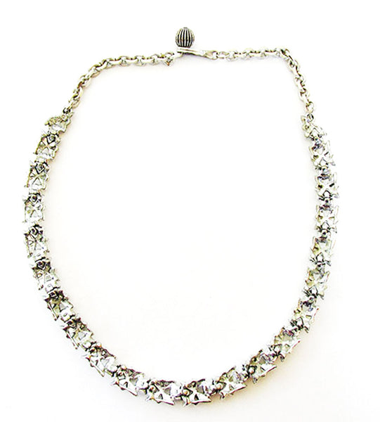 BSK 1950s Vintage Jewelry Mid-Century Pearl and Diamante Necklace - Back
