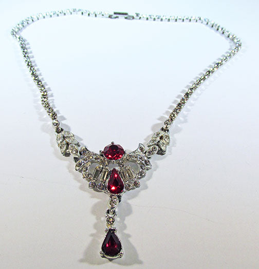 Vintage 1950s Magnificent Ruby Red Rhinestone Drop Necklace