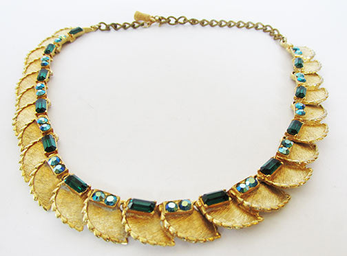 BSK Vintage Mid Century Dazzling Emerald Green Leaf Necklace