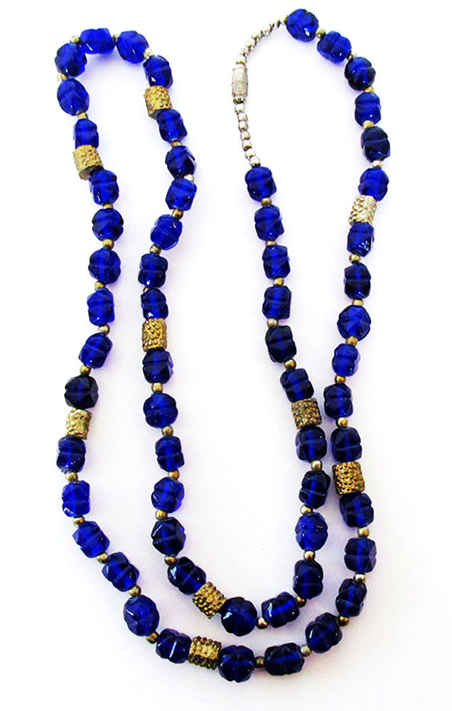 Vintage 1940s Jewelry Exceptional Cobalt Blue Glass Bead Necklace - Front
