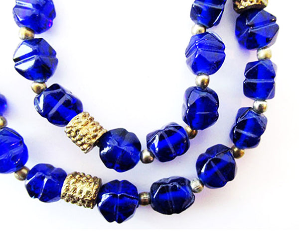 Vintage 1940s Jewelry Exceptional Cobalt Blue Glass Bead Necklace - Close Up