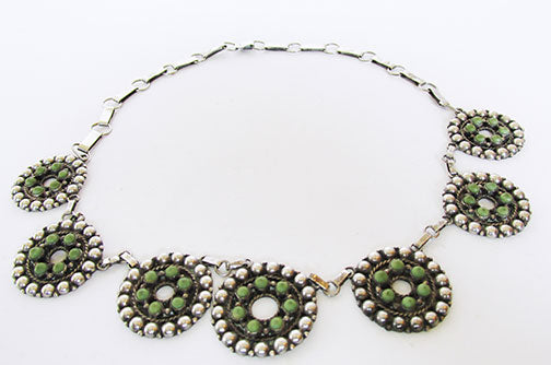 Vintage 1960s Wonderful Artisan Sterling Silver Turquoise Necklace