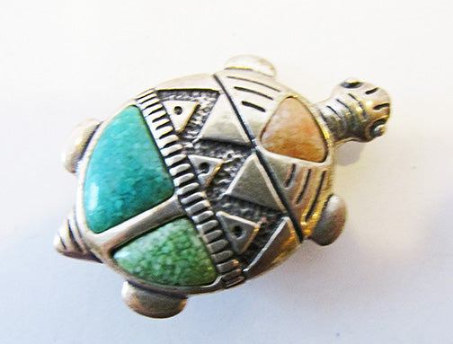 Carolyn Pollack Vintage 1980s Beautiful Turquoise Turtle Pin/Pendant