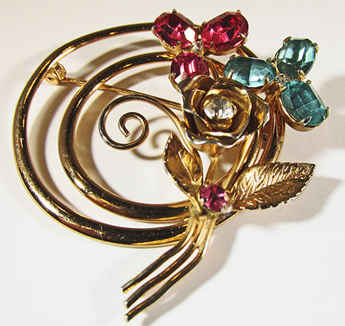 Coro Vintage Striking Retro 1940s Rhinestone Floral Bouquet Pin