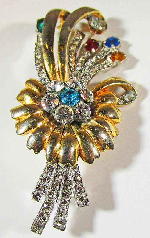 Vintage 1940s Stunning Multi-Colored Rhinestone Floral Bouquet Pin